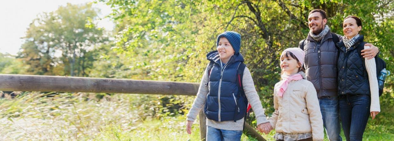 Gezin wandelt in het bos